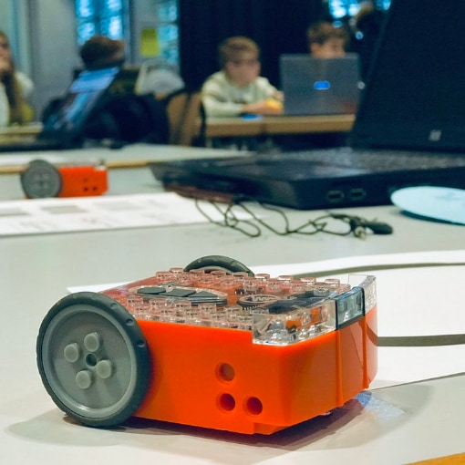 The Edison robot is designed for teaching coding in the classroom.